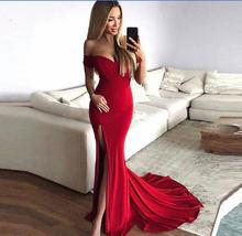 Graceful Red Evening Dresses Off The Shoulder Long Formal evening Dress 2019 High Quality Sexy Split Slit Special Occasion Gown casual off the shoulder sheath slit dress