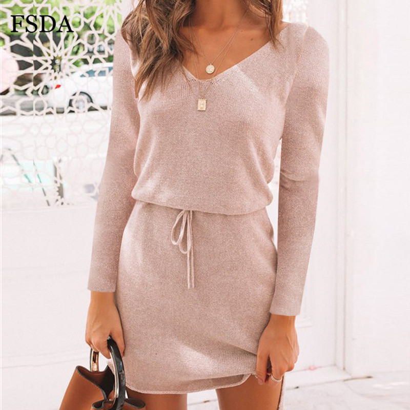 FSDA V Neck Women Sashes Long Sleeve Casual Dress Pink Black Gray Slit Mini Autumn Winter Knitted 2019 Warm Short Dresses