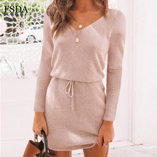 FSDA V Neck Women Sashes Long Sleeve Casual Dress Pink Black Gray Slit Mini Autumn Winter Knitted 2019 Warm Short Dresses(China)