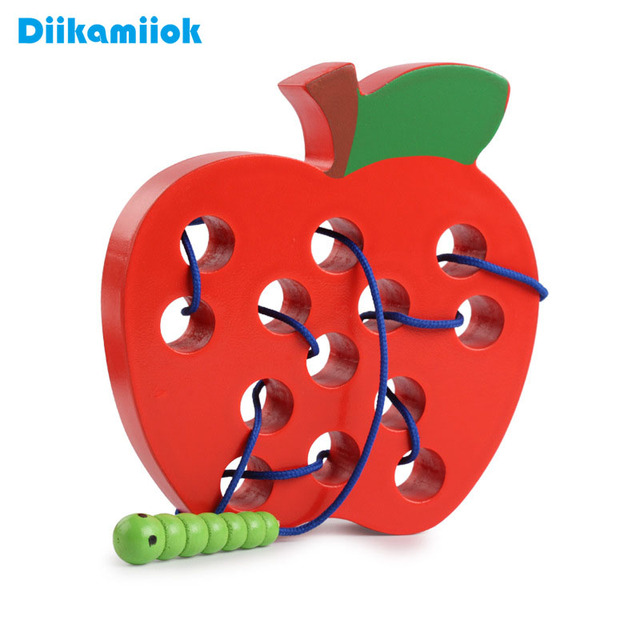 Kids Wooden Toy Caterpillar Eating Fruit Maze Game Baby Threading Rope Training Life Skills Puzzle Educational Toys for Children