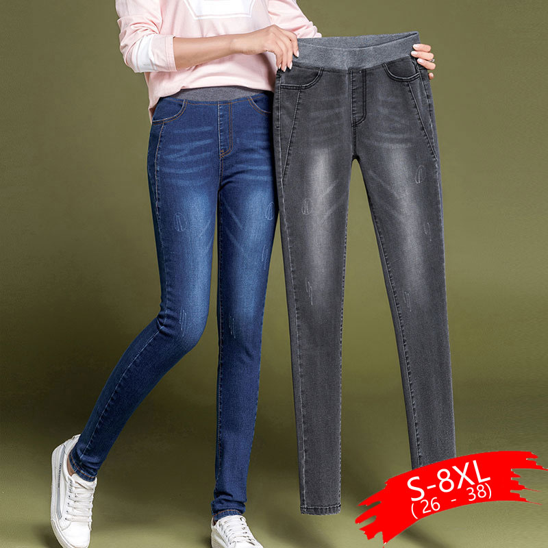 Skinny Jeans Woman Large Size Women Jeans Winter Thick Stretch Warm Jeans Push Up Jean Femme Big Plus Size 38 Black Gray