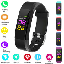 HOT 115PLUS Smart Band di Supporto di Frequenza Cardiaca Pressione Sanguigna Calorie Passo del Monitoraggio IP67 di Fitness Impermeabile Braccialetto di colore Casuale(China)