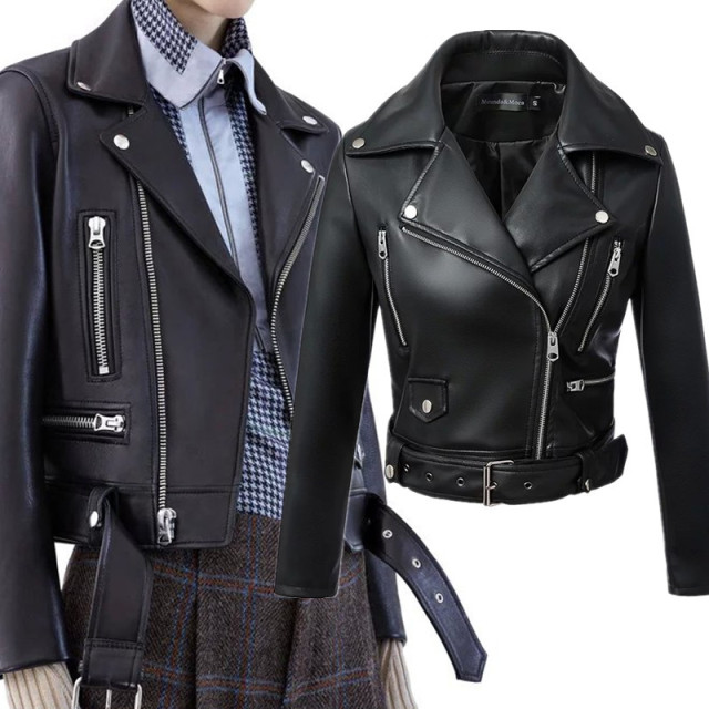 Women Autumn Winter Black Faux Leather Jackets Zipper Basic Coat Turn-down Collar Motor Biker Jacket With Belt 3