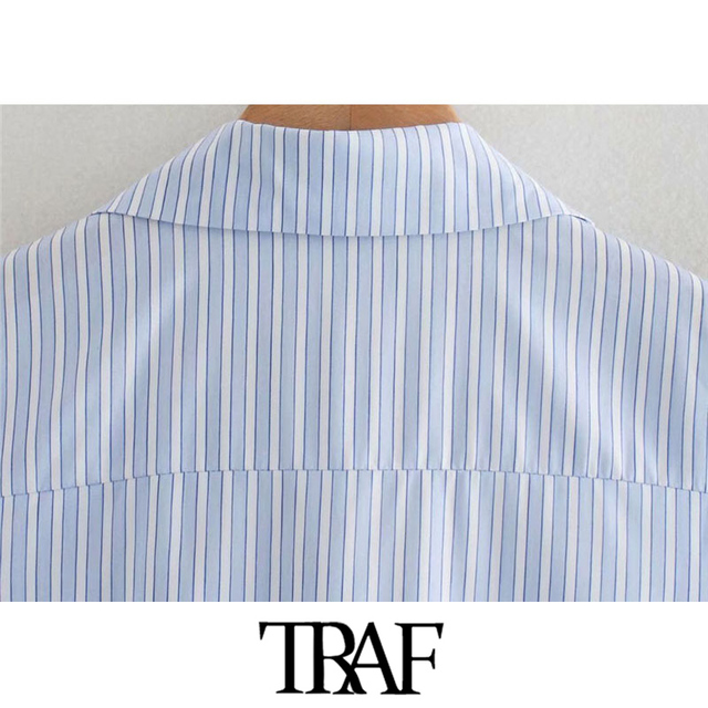 TRAF Women Chic Fashion With Knot Striped Pleated Mini Dress Vintage Long Sleeve Irregular Female Dresses Mujer 5