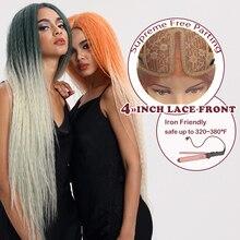 """Pelucas mágicas de pelo sintético con encaje frontal para mujeres negras, peluca de 38 """"resistente al calor, cabello trenzado, peluca de encaje verde y rosa, cabello sintético"""