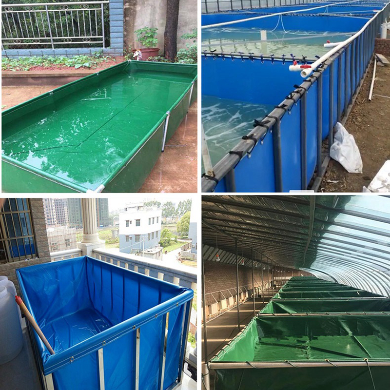 2x1x0.9m Aquaculture Pool PVC Coated Cloth COATED BANNER Tarpaulin Greenhouse Fish Pond Crayfish Koi Culture Child Water Pool