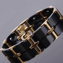 Браслет из полированной нержавеющей стали золотого цвета для мужчин и женщин, роскошный керамический энергетический Магнитный браслет для мужчин и женщин