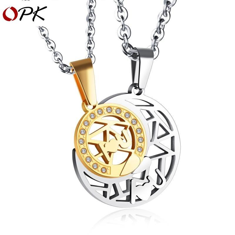 [Collier pour hommes + collier pour femmes] collier OPK de haute qualité, collier de couple soleil et lune pendentif en acier titane