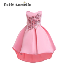 2020 New Children Embroidery Dress Dress Flower Mesh Princess Long Skirt Elegant Flower Wedding Party Kids Girl Princess Dress girl elegant party dress new summer kids tiered mesh dress sweet solid costumes princess suit children clothing 3 7y