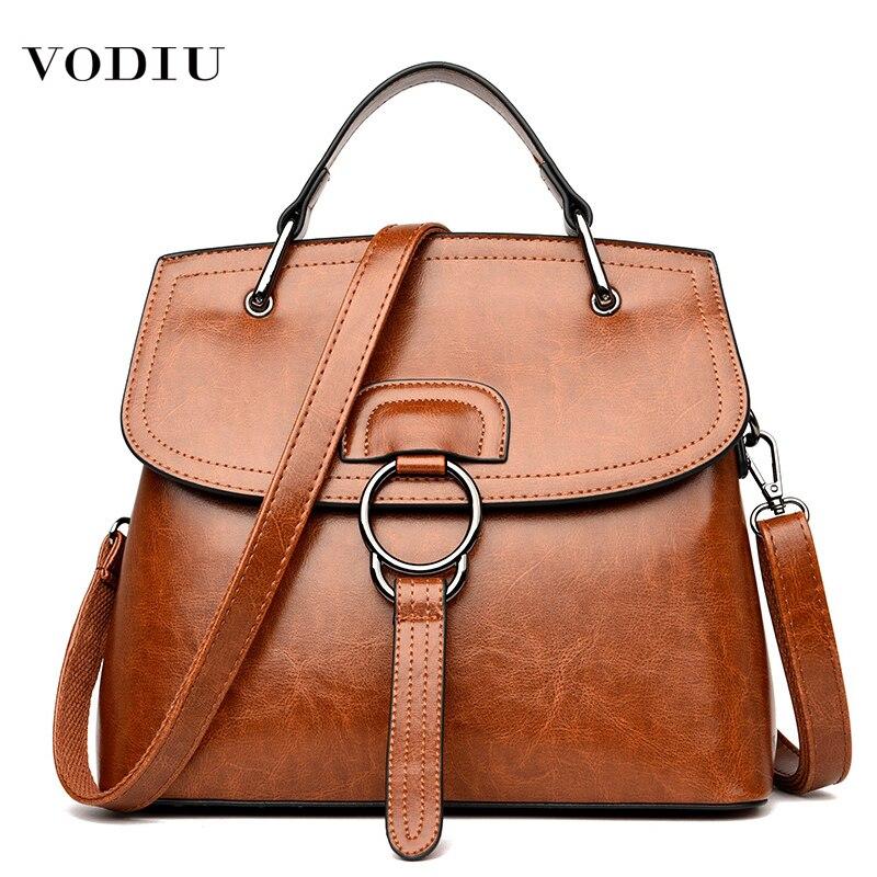 Bag Women Leather Genuine Handbags Large Capacity Fashion Designer Brand Mother Buckle Ring Handbag Shoulder Crossbody Women Bag
