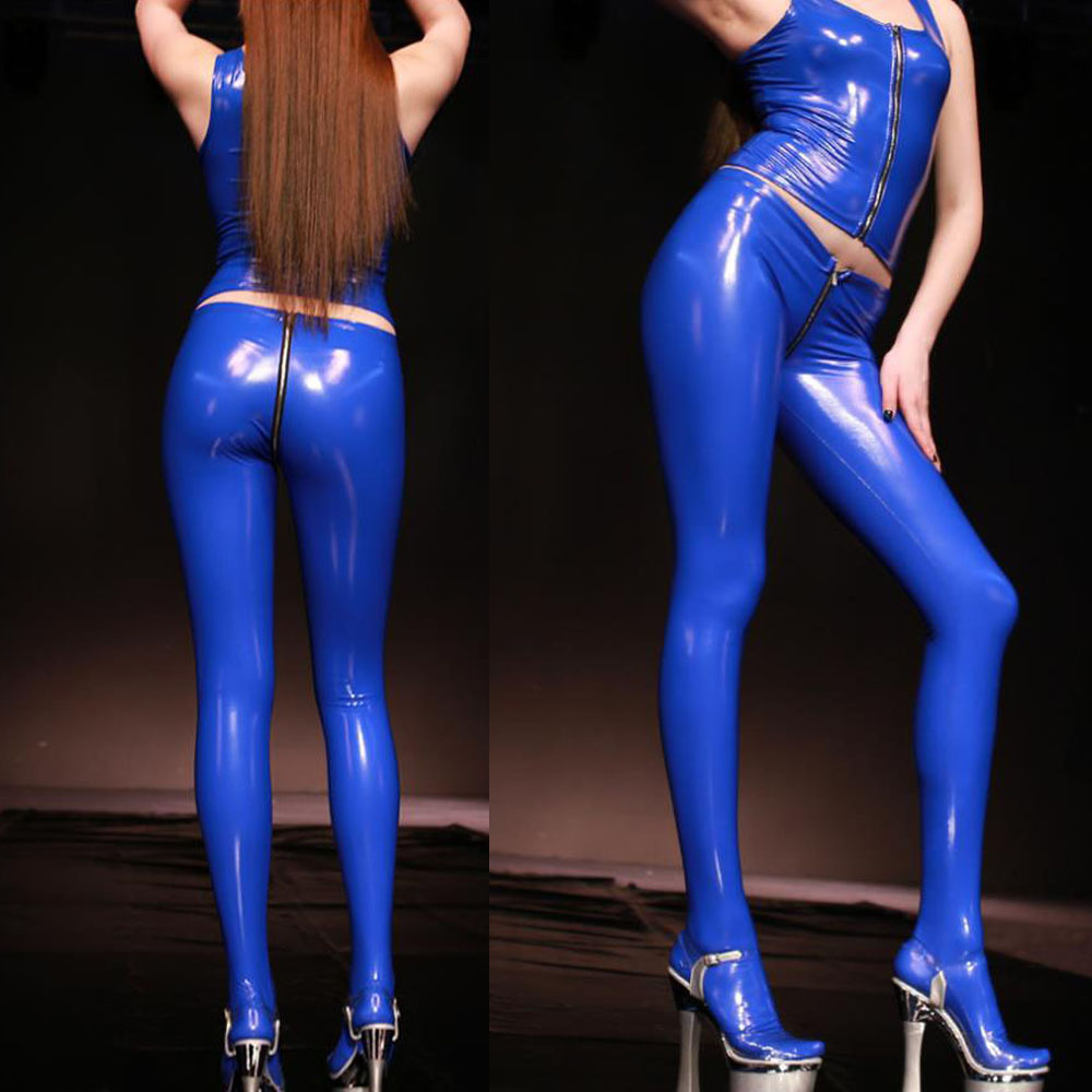 Plus Size PVC Latex Shiny Zipper Crotch Sexy Pencil Pants Open Butt Wet Leggings Streewear Faux Leather Pants Women Pantyhose