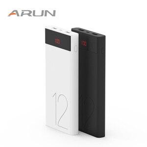 Arun 12000 mah display led power bank para o iphone huawei powerbank dupla porta usb 1a 2.1a carregamento rápido bloco de bateria externa