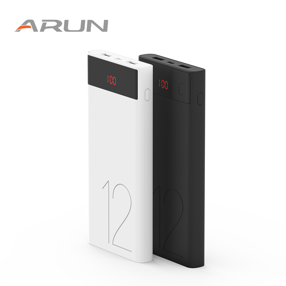 Arun J120 Black and White <font><b>12000mAh</b></font> 2A 2.1A Portable Charger Battery for <font><b>Smartphone</b></font> with Display RU Warehouse image