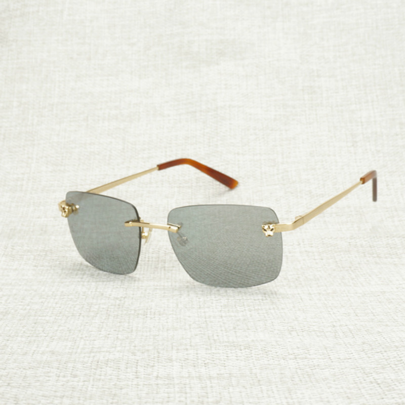 Vintage Leopard Style Sunglasses Men Rimless Square Shade Metal Frame Gafas Women for Outdoor Driving Eyewear Accessories