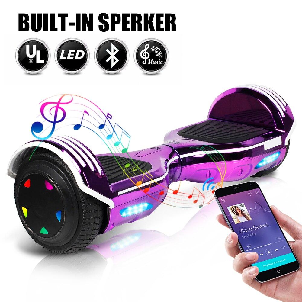 6,5 дюймов Ховерборд электрический самокат умный электрический скейтборд самобалансирующийся скутер Bluetooth динамик светодиодный Ховер доск...