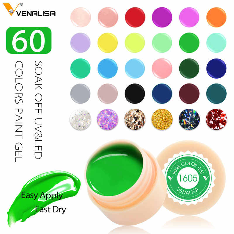 Venalisa Uv Gel Baru 2019 Tips Nail Art Desain Manikur 60 Warna Uv Dipimpin Rendam Off DIY Cat Gel Ink uv Gel Cat Kuku Pernis