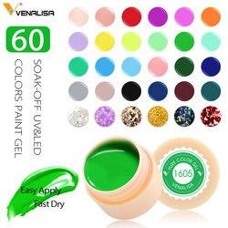 УФ-гель Venalisa, новинка 2019, для дизайна ногтей, дизайн, маникюр, 60 цветов, УФ-светодиодный, впитывается, сделай сам, краска, гель, чернила, УФ-гель...