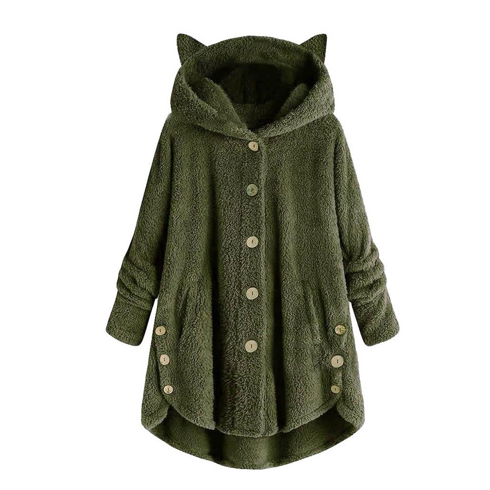 Cute Women Winter Cute Cats Ears Hooded Irregular Hem Buttons Jacket Fleece Coats Outerwear Women chaqueta mujer