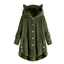 Cute Women Winter Cute Cats Ears Hooded Irregular Hem Buttons Jacket Fleece Coat