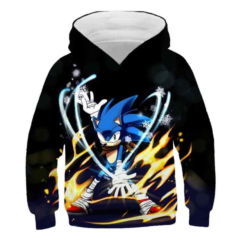 Sonic The Hedgehog Character 3D Ears Boys Kids Blue Hoodie