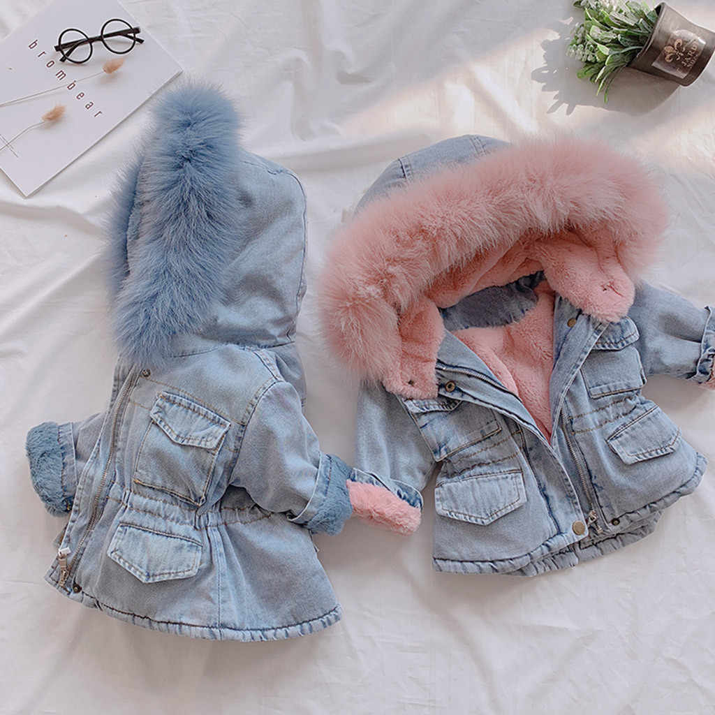 Toddler Coat Jacket Kids Baby Girls Hooded Faux Fur Fleece Warm Thick Denim Coat Outwear Fashion Winter Warm Costume M850#