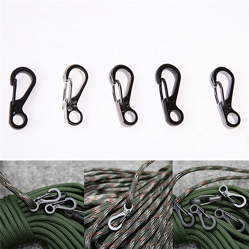 5pcs/lot 3 Colors Mountainer Keyring Key Chain Mini Spring Cord Buckle Clasp Buckle Snap Hook Carabiner