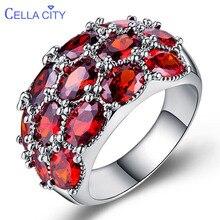 Cellacity Cao Cấp 925 Nhẫn Bạc Nữ Với Hình Bầu Dục Đá Quý Ruby Nhà Thiết Kế Bạc Mỹ Trang Sức Nữ Đảng Sỉ Tặng
