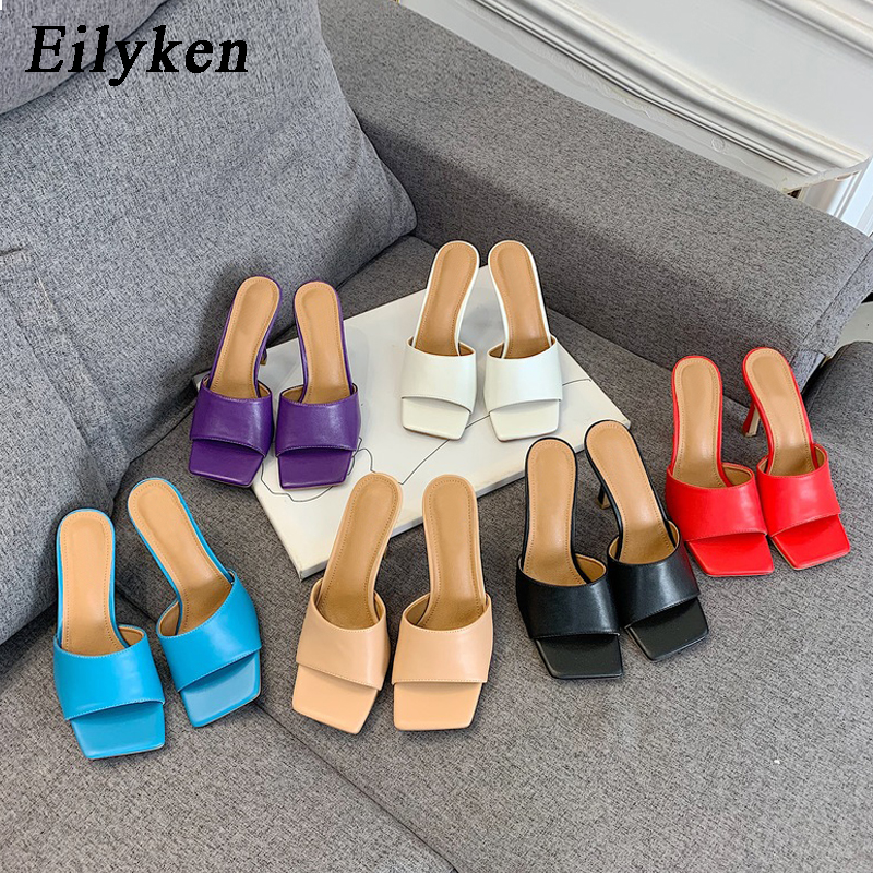Eilyken Purple Concise Square Toe Heels Women Slides Sexy Slingback Shallow Soft Slippers Rome Gladiator Sandals Dress Shoes