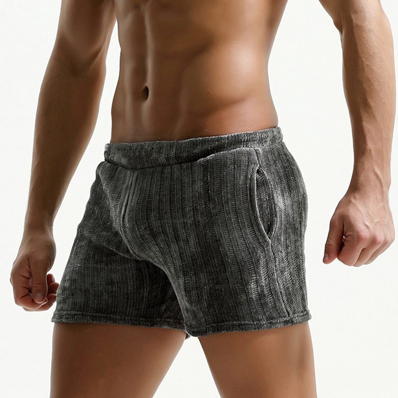 New Men's Corduroy Shorts Casual Vintage Breathable Home And OutDoor Stripe Shorts With Soft Elastic Waist Wide