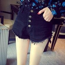 шорты женщины весна новая модель высокая талия заусенцев джинсы шорты Женские свободные уменьшая рваные джинсы шорты для женщин dropshipping