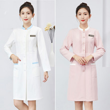 Hairdresser's Workwear Female 2019 New Autumn And Winter Long-sleeved Doctor And Nurse's Dentist's White Coat Skin Management