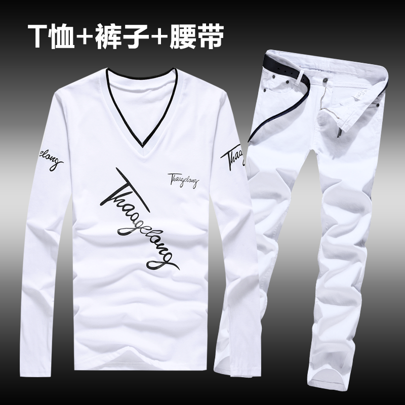 Autumn Mens Long Sleeve T-shirt Pencil Pants With Belt 2pcs Set V-neck Shirts Jeans Trousers Casual Letters Printed Top Z14
