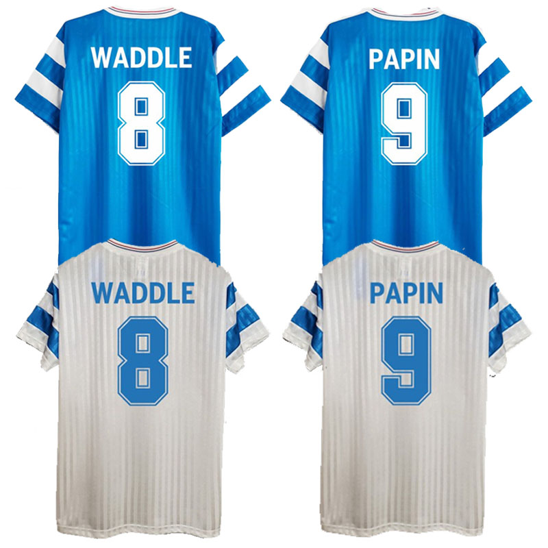T-shirt rétro OM, chemise the AWAY AND HOME WADDLE, style canton PAPIN, uniformes VINTAGE, 1990/91 1