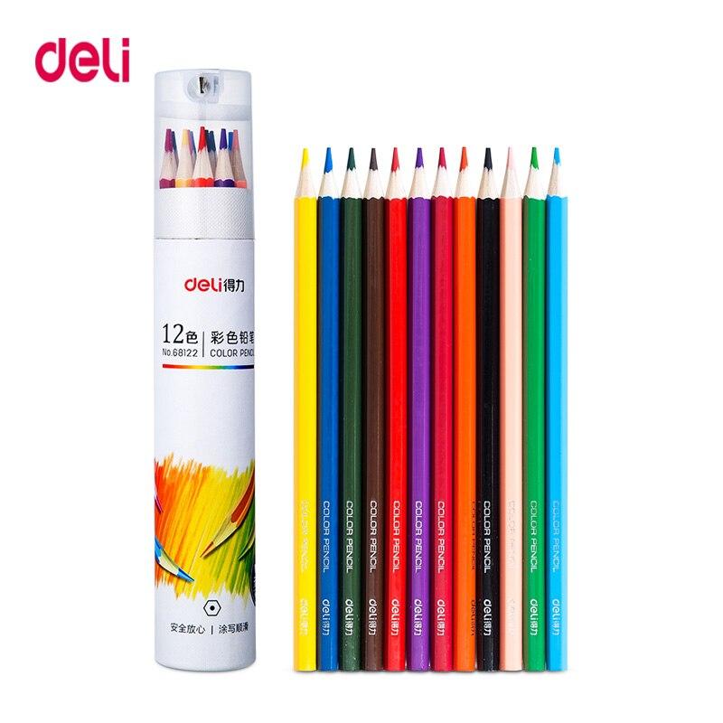 Deli Professional colored pencils Set Oil/ Watercolor Wood Color Pencil art painting Drawing colour colours Barreled
