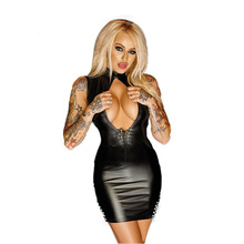 Sexy Faux Leather Bandage Dresses Open Bust Robe Sexy Club Erotique Fetish
