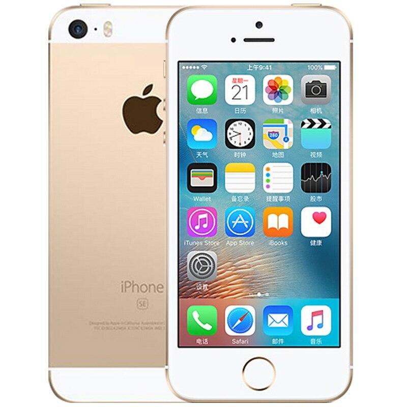 Разблокированный Apple iphone SE, мобильный телефон, 4 аппарат не привязан к оператору сотовой связи 4,0 '2 Гб Оперативная память 16/64GB Встроенная память A9 двухъядерный за счет сканера отпечатков пальцев Подержанный мобильный телефон iphone se - Цвет: A1662 Gold