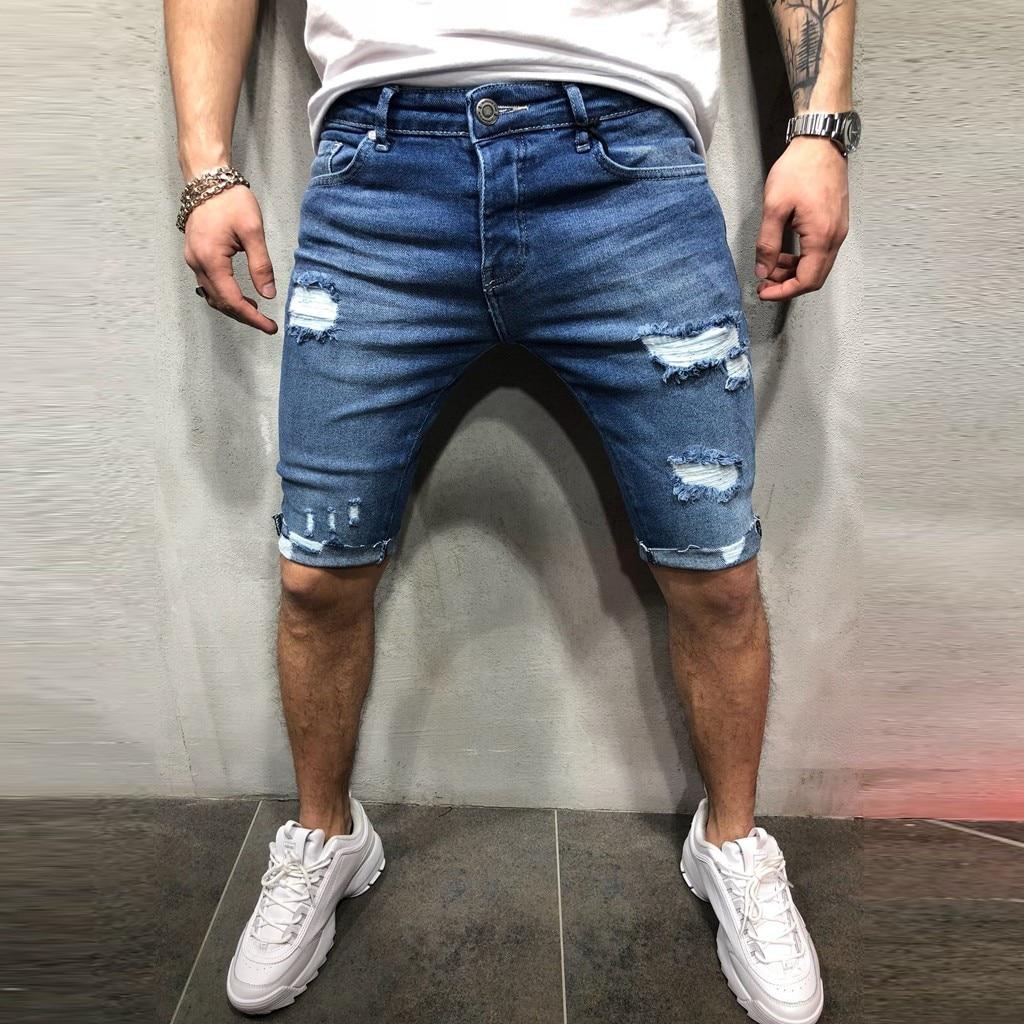2019 Men's Cotton Thin Denim Loose Short Pants New Fashion Summer Male Casual Low Waist Short Jeans Shorts Stretch Pant