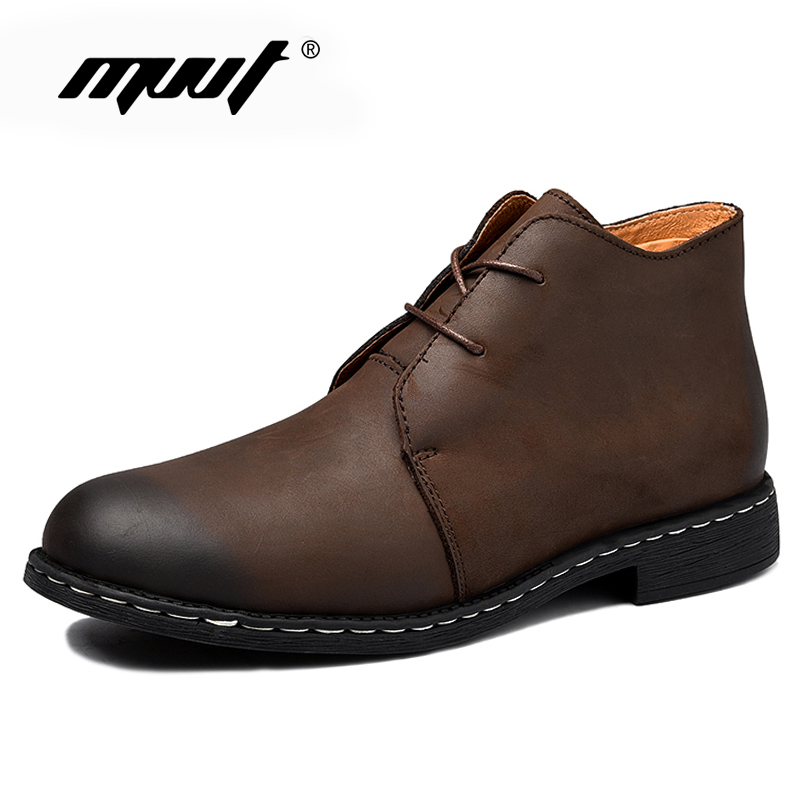 High quality Fashion Men's Leather Boots Personality Slip Resistant Winter Shoes,Complex Guma Ding autumn winter ankle boots