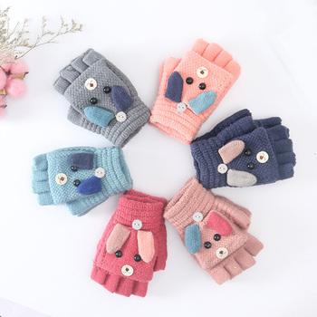 Rękawiczki zimowe dla dzieci dzieci dziewczynka chłopiec 4-12 lat pół z efektem poruszania palcem pokrywy rękawiczki chłopcy zwierząt ciepłe rękawiczki dla dzieci rękawiczki z dzianiny tanie i dobre opinie Jamluky Poliester Akrylowe Unisex YE029 16*8CM Suit for 4-12 Years kids