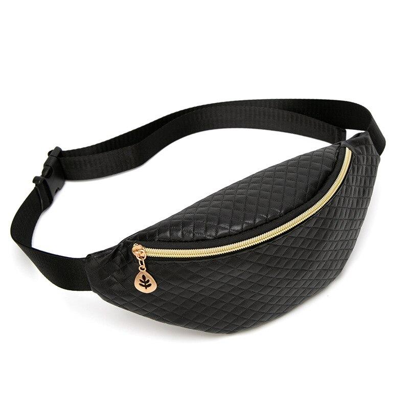 Black Leather Waist Packs Fanny Pack Women Crossbody Bags Female Belt Bag Waterproof Travel Waist Packs Chest Phone Pouch Wallet
