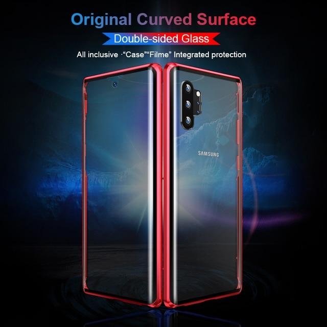 Étui pour samsung Galaxy S10 Plus S10E S10 + Protection magnétique boîtier en métal sur S 10 Plus 10E 10 + avant arrière couvercle en verre trempé