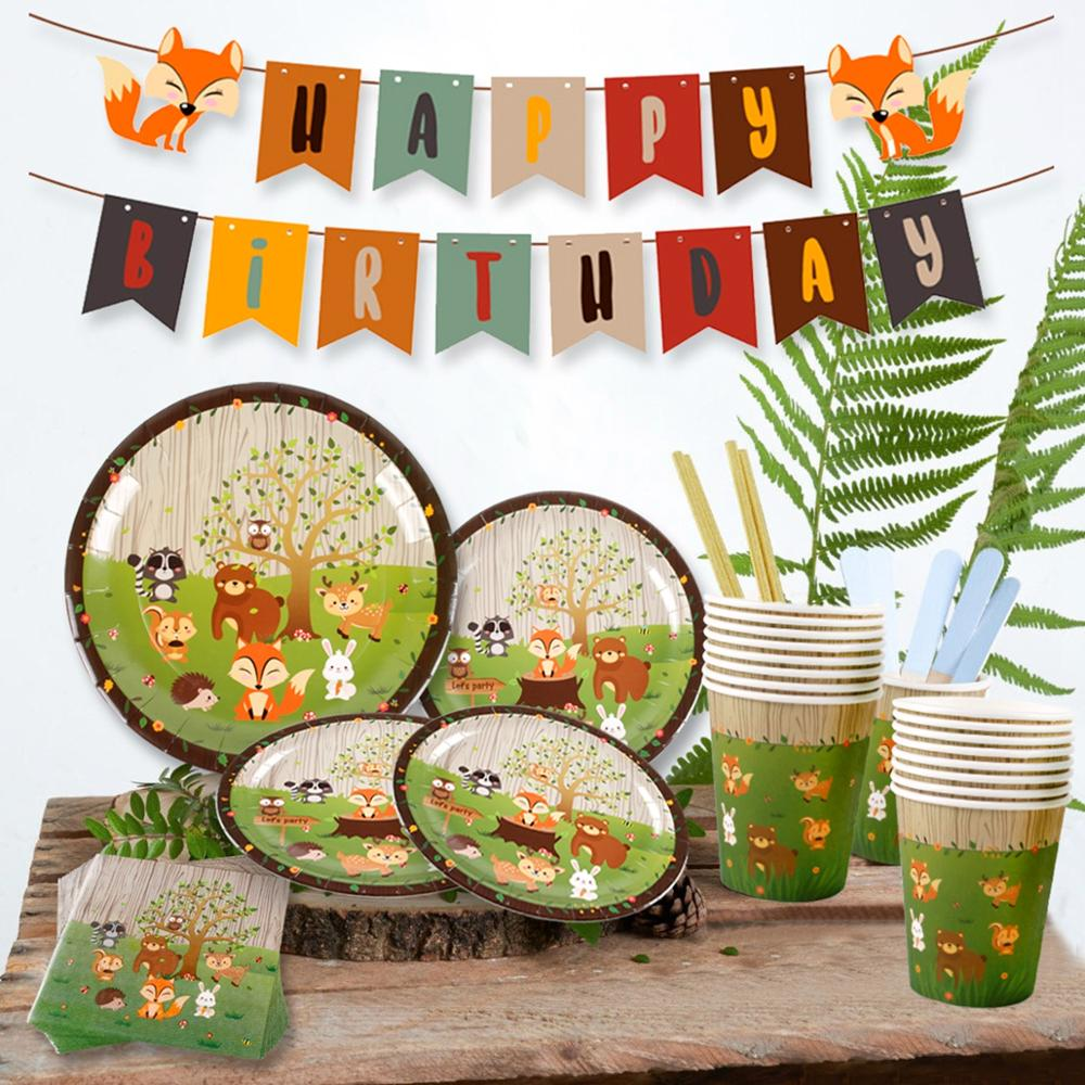 QIFU Woodland Party Supplies Safari Animal Banner Cupcake Birthday Party Decoration Kids Jungle Theme Party Forest Party Decor