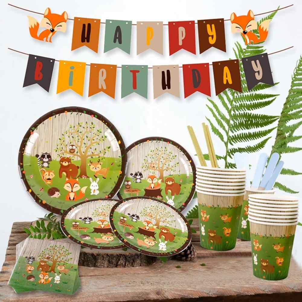 QIFU Woodland parti malzemeleri Safari hayvan afiş Cupcake doğum günü partisi dekorasyon çocuklar Jungle tema parti orman parti dekor