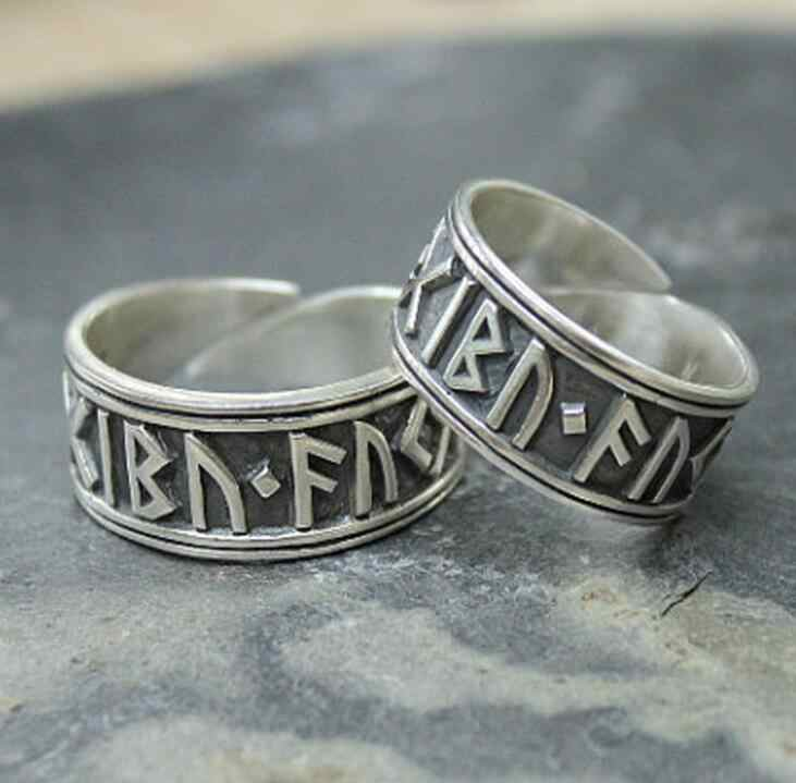 New Creative Viking Nordic Rune Open Rings For Men Women Punk Cool Silver Color Hot Trendy Finger Norse Mythology Jewelry Gifts