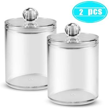 2pcs Cosmetics Storage Box Makeup Organizer Bathroom Jar Cotton Swab Cotton Pad Jewelry Round Plastic Box Storage Container
