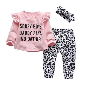 Newborn Baby Girl Clothes Set Cotton Long Sleeve Funny Letter Tops+Casual Leopard Pants+Headband 3Pcs Infant Toddler Outfits