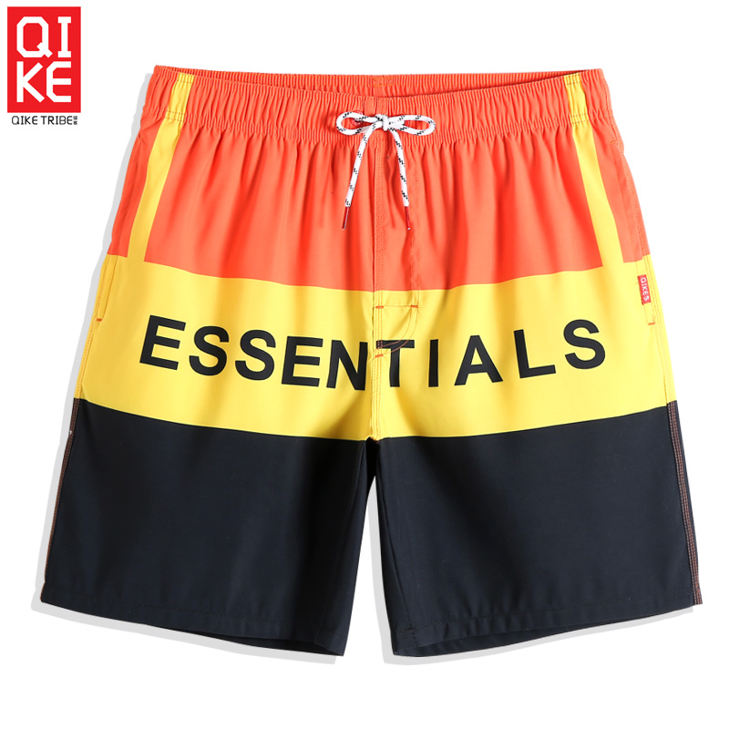 New Men's Summer Sexy Bathing suit Solid Color stripe   Board     shorts   joggers Printed Quick dry surfing swimsuit briefs mesh