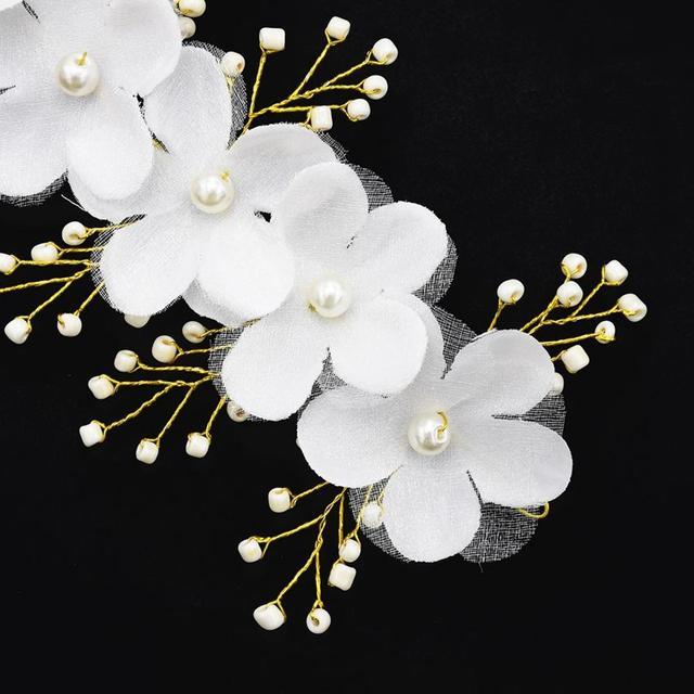 Fashion handmade silk gauze crystal pearl flower bride headband hairpin bridal tiara headpiece hair jewelry wedding accessories