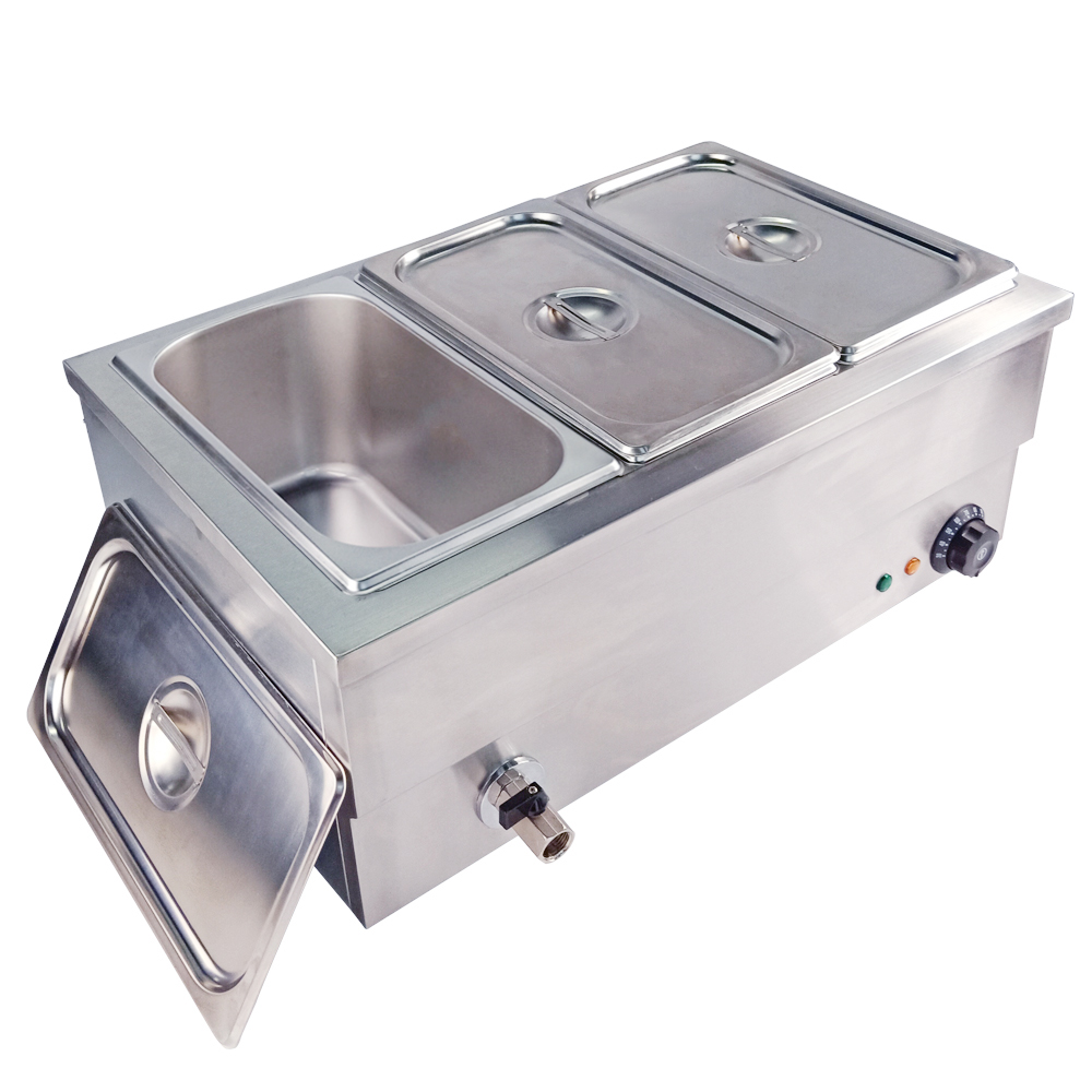 Stainless Steel Food Bain Marie Commercial Buffet Insulation Deep Soup Stove Food Warmer Machine For Kitchen Appliance