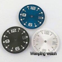 31.5mm Bliger blauw zwart zilveren wijzerplaat lichtgevende Fit ETA 2836/2824 DG2813/3804 Miyota 8215 821A 8205 automatische beweging P934